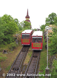Two cars meeting on a passing track. Funicular at Skansen.
