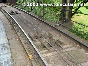 The cable wheels that carry the cable. Funicular at Skansen.