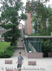 Single track. Funicular at Nacka Strand..